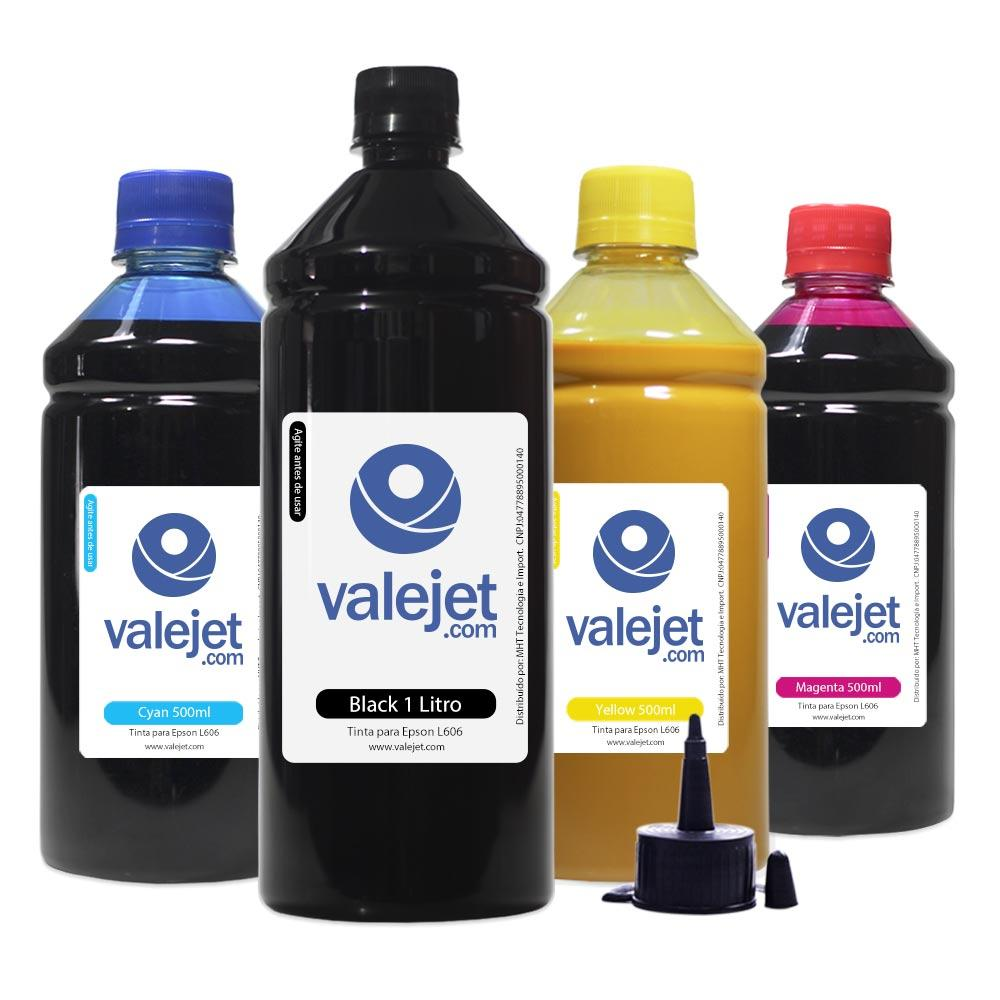 Kit 4 Tintas para Epson L606 Black 1L Color 500ml Pigmentada Valejet